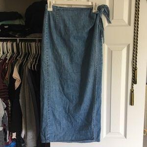 Wrap jean skirt